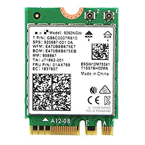 Xglai Adaptador de Red Wireless-AC 9260 M.2 2230 Bluetooth 5.0 Wi-Fi Combo Card Support Miracast para Windows 10 Linux 9260NGW (Color : Green)