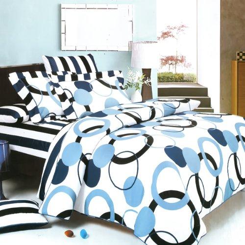 Blancho Bedding - [Artistic Blue 100% Cotton 7PC MEGA Comforter Cover/Duvet Cover Combo (King Size)