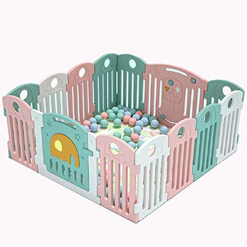 Baby PlayPen Foldbar PlayPen Barnsäkerhetsaktivitetscenter Inomhus Utomhus Småbarn Staket Plast Spel Gård för Boys Girls Babies, 145cm * 145cm 14 Panel
