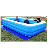 Inflatable Swimming Pools, Blow up Kiddie Pool Family Swimming Pool for Garden Outdoor Backyard Kids Family Inflation Pool Baby Ocean Ball Sand Pool Bath Square (Blue, XXL)
