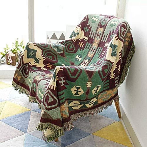 ZCRFY Coton Canapé Serviette Couverture Jacquard Tricoté Couverture avec Gland Décoratif À La Maison Filet Indien Couvertures Plaid Tenture Murale Tapisserie,F-230cm*250cm