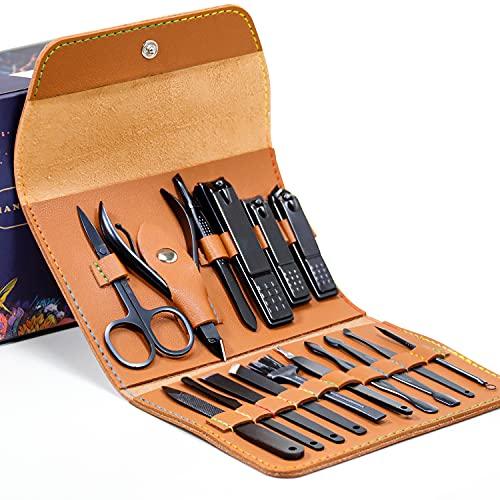 AIWOGEP Set manicure Kit pedicure tagliaunghie - Kit manicure professionale da 16 pezzi, kit da viaggio portatile per toelettatura - Cura del viso, delle cuticole e delle unghie