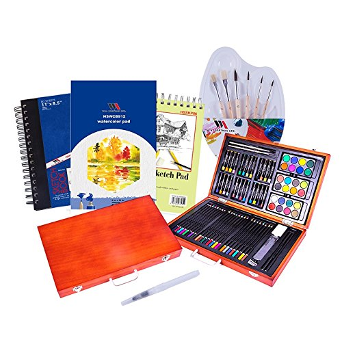 Deluxe Art Creativity Set in Wooden Case - 93 Pieces of Artist Paint Tools with Sketch