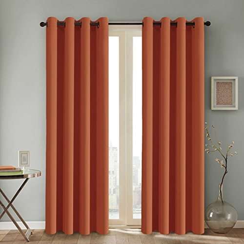 Ultra Soft Blackout Curtains for Bedroom Living Room, Extra Long Room Darkening Curtains/Drapes Thermal Insulated Grommet Top Blackout Draperies for Patio Door (52 by 108 Inch, Burnt Orange, Set of 2)