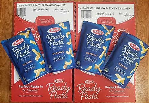 Barilla gebrauchsfertige Pasta, 8 Packungen: je 2 Beutel von Rotini, Penny, Ellenbogen, Gemelli + silberne Kunststoff-Utensilien (250 ml pro Beutel)