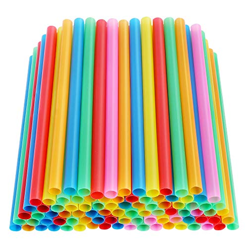 Jumbo Smoothie Straws 100pcs, Alotpower Colorful Disposable Plastic Straws Wide-mouthed Large Straw Wide Straws for Milkshake and Smoothie