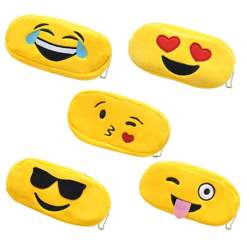5 estuches de lápices de emoji de felpa para cosméticos, bolígrafos, bolígrafos, bolígrafos, estuche, cremallera, almacenamiento de maquillaje (5): Amazon.es: Oficina y papelería