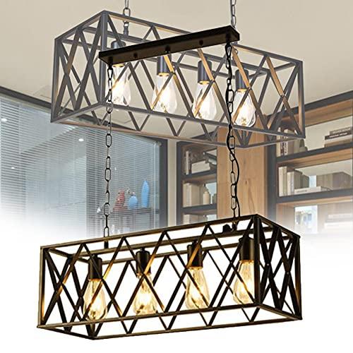 EnweOil Lámpara de Granja, Textura de Madera Industrial Metal Techo Colgando Lighting Lighting, Cadena de Metal Ajustable para Pasillo Dormitorio Cocina Porche Lavadero,4 Heads