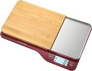 ميزان مطبخ مع لوح تقطيع قابل للازالة من لوازم، احمر