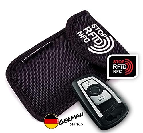 MakakaOnTheRun Keyless Go, custodia protettiva per chiavi dell'auto, con 2 scomparti di protezione RFID, per tutte le auto dell'UE, dell'Asia e dell'America