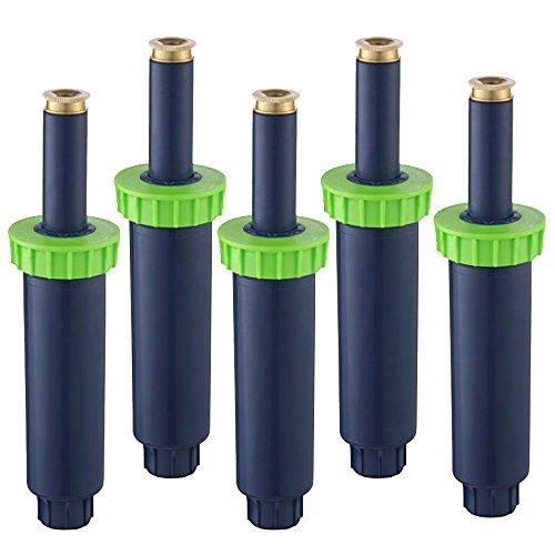 Asnomy aspersores de 10cm con Boquilla de latón, aspersor de riego para césped, Patio, jardín, macetas, Juego de 5 (4 Unidades de aspersores de 360 Grados + 1 aspersor de 180 Grados)