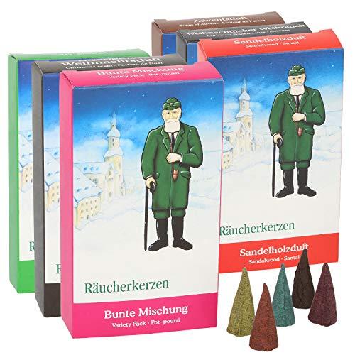 com-four® 144x Räucherkerze in verschiedenen Duftrichtungen - weihnachtlicher Duft (144 Stück - Verschiedene Düfte)