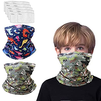 Kids Balaclava Neck Gaiter With Filters For Girl Boy, Face Cover Bandana, Mask Infinity Scarf, Safety Face Cover Headwear Protection, Toddler Headgear, Dinosaur Camouflage Heart Gifts For Girls