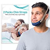 2Packs CPAP Chin Straps for Men and Women - Anti Snoring Solution, Chin Strap for CPAP Users - Effective Relieves Snoring Devices, Comfortable and Adjustable Sleeep Chin Straps for Mouth Breathers