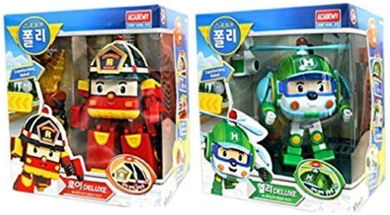 Academy Models Robocar Poli Deluxe Transformer Toys Robot Action Figures Korean Animation Kids Gift Set 2Pcs [Roi + Helli]