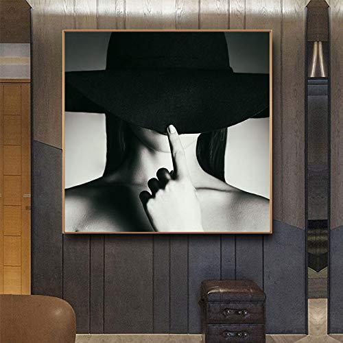 Gymqian Lienzo Moderno Pintura en Blanco y Negro Mujeres con Sombrero Carteles Impresiones Arte de la Pared Imgenes Disfraz Sombrero para la Sala de Estar Decoracin del hogar -60x60cm Sin Marco