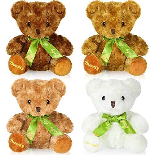 4 Osos Suaves de Peluche con Relleno con Pajarita Muñecos Lindos de Animal de Peluche en 4 Colores, Juguetes de Oso de Peluche con Relleno de 8 Pulgadas para Boda Cumpleaños San Valentín