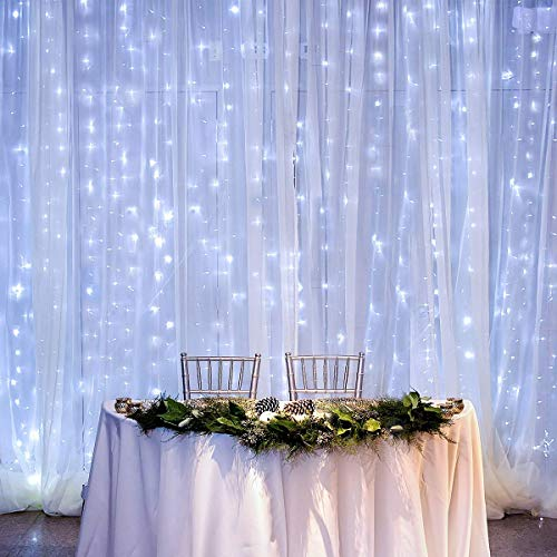 Twinkle Curtain Lights 8 Lighting Modes, 10 Ft Connectable Waterproof Outdoor String Lights for Wedding Party Garden Patio Yard Decor, 300 LED String Light Backdrop for Bedroom Wall Window Decoration
