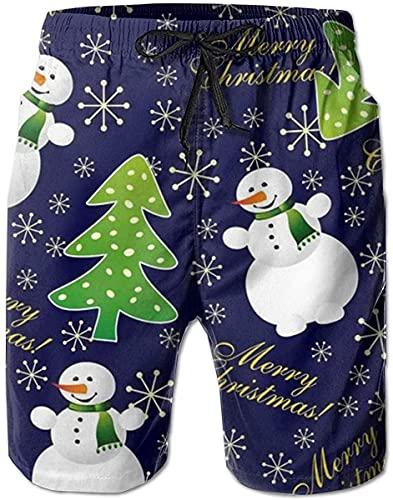 BONRI Bañador para Hombre Camiones de natación de Secado rápido para Hombre Muñeco de Nieve con Pantalones Cortos de Playa con árbol de Navidad, XXL