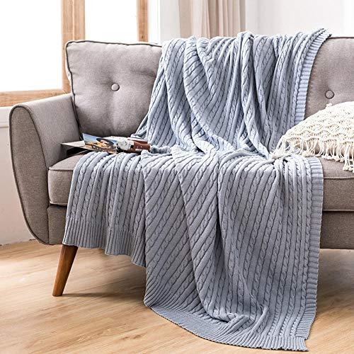 Bedding Mantas Reversibles de Franela - Tela de Cepillo Extra Suave, Súper cálida, Mantas para sofás acogedora y Ligera, Cuidado fácil -Jaula Azul_El 110x180cm
