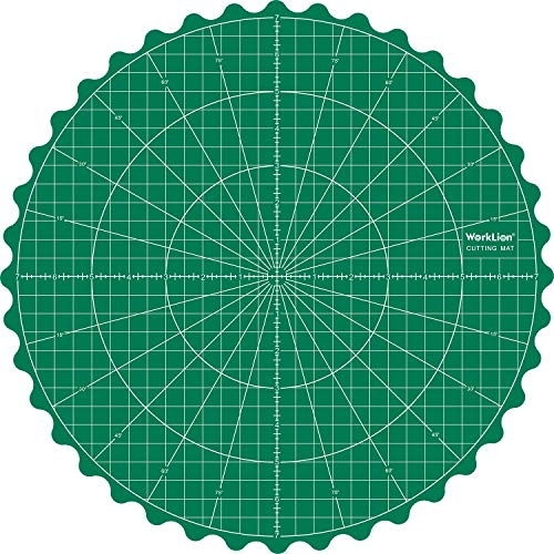 WORKLION Rotary Self-Healing Cutting Mat: 14x14 Inch Round Rotating Turntable Green PVC Grid Cut Matt for Sewing & Quilting & Scrapbooking & Crafts Projects