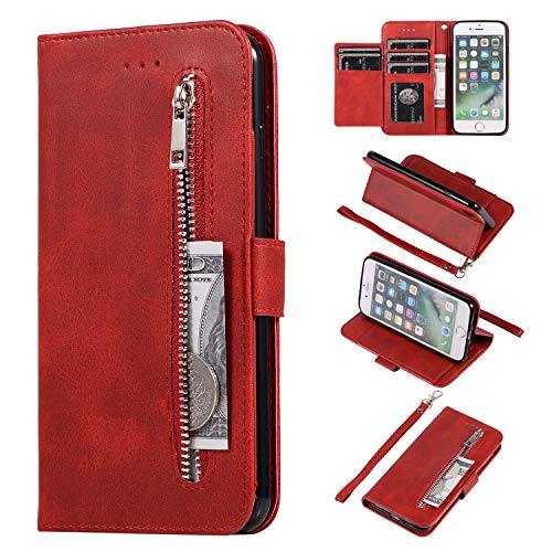 EYZUTAK Wallet Case for iPhone 7 iPhone 8 iPhone SE 2020, 5 Card Slots Magnetic Closure Zipper Pocket Handbag PU Leather Flip Case with Wrist Strap TPU Kickstand Cover - Red