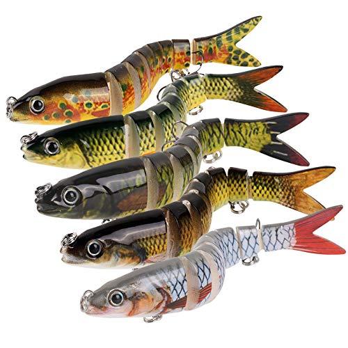 AOLVO 5 leurres de pêche PCS, leurres de Basse...