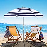 Bumblr 6.5ft Beach Umbrella with Sand Anchor & Tilt Mechanism Outdoor Sunshade Portable Umbrella with Carry Bag Wind Resistant UV Protection for Sand Heavy Duty Beach Garden Outdoor, Navy White Stripe