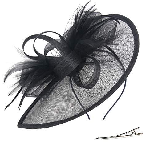 Fascinator Hats for Women Kentucky Derby Headband Headware Hair Clip Cocktail Derby Race Royal Ascot (Black-BK)
