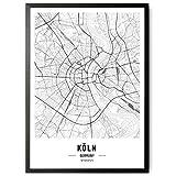 kizibi JUNOMI® Köln Poster XL Schwarz Weiss, DIN A2