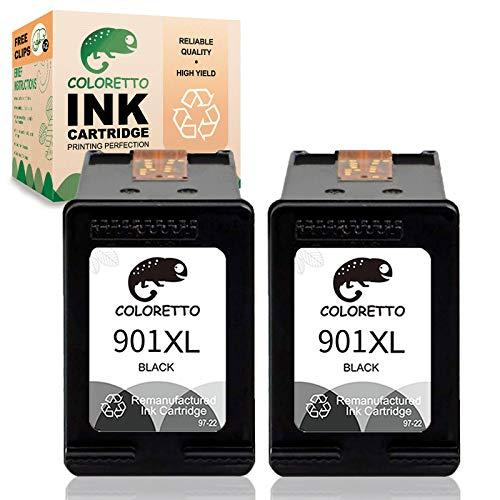 COLORETTO Ersatz-Tintenpatrone für wiederaufbereitete Druckerpatronen für HP 901 XL 901XL zur Verwendung mit Officejet J4624 4500 g510a J4500 J4524 J4540 J4560 J4580 J4585 J4600 Multipack (2 Schwarz)