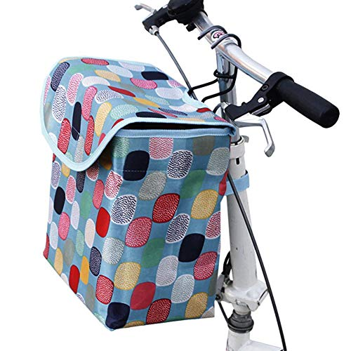 N/S Bike Frame Basket, Bicycle Basket Front for Women, Bike Front Basket Canvas with Cover/Lid, Waterproof Large Capacity Folding Bike Front Basket for Pet | Shopping | C-ommuter, 24x15.5x27 cm