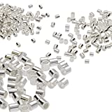 The Beadsmith Beading Crimp Tubes in 3 Sizes, 1.5- x 1.5-Millimeter (250 Pieces), 2- x 2-Millimeter (150 Pieces), 2.5- x 2.5-Millimeter (75 Pieces) Jewelry-Making Supplies, Total 475 Crimp Tubes (Silver Variety)
