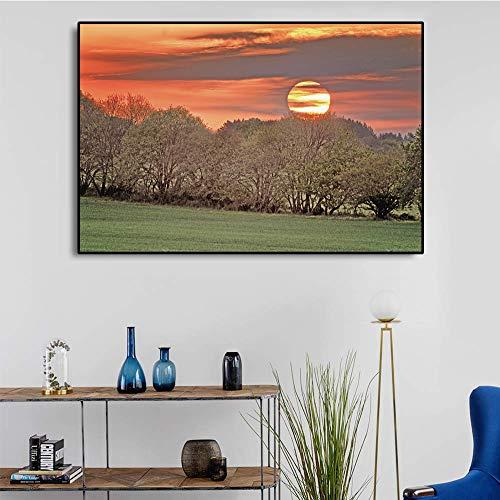 Naturlandschaft Sonnenuntergang Landschaft Poster und Drucke Leinwand Malerei Wandbilder Wohnzimmer Schlafzimmer Dekoration75x50cm ohne gerahmt