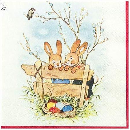 20 Servietten niedlicher HASEN 1 Packung Motivservietten Ostern gezeichnet IHR