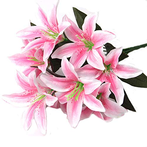 Artfen Artificial Lily 10 Heads Fake Lily Artificial Flower Wedding Party Decor Bouquet Home Hotel Office Garden Craft Art Decor Pink