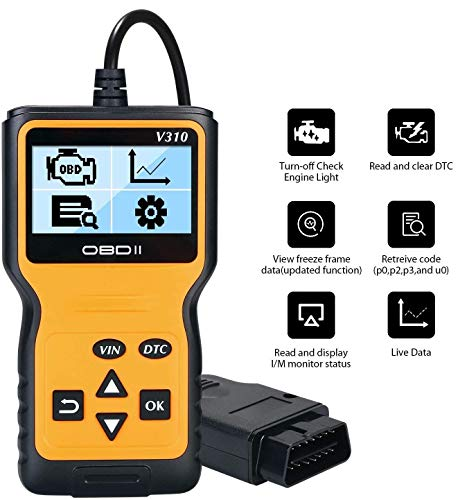 URAQT OBD2 Diagnosegerät, Auto OBD Code Scanner Fahrzeug Fehlercodeleser arbeitet an allen Autos mit OBD2, EOBD, CAN-Modi für Lesen und Löschen Fehlercode und Batterie Test