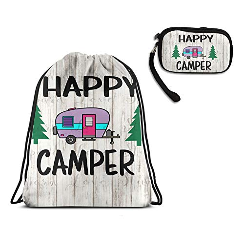 YongColer Drawstring Bag Backpack Daypack Cinch Tote Bag, Cosmetic Bag Coin Cash Purse Zipper Pouch Wristlet Bag Clutch Wallet - Happy Camper with Tree (2 Pack Set)