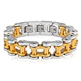 | Crucible Gold Plated Two-Tone Stainless Steel Polished Bicycle Chain Bracelet (18.7mm) - 10.5'