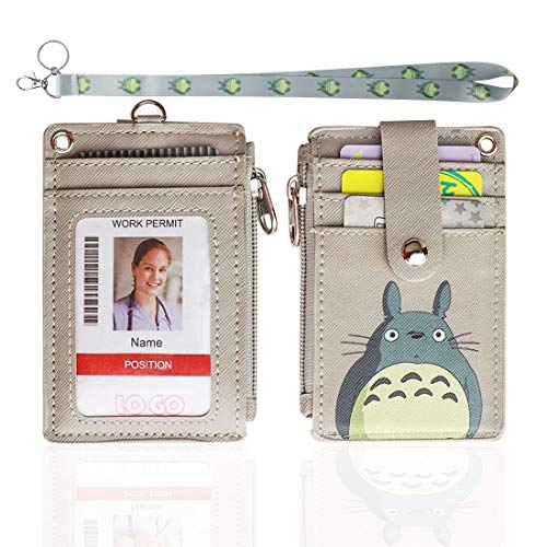 2020 UpgrededBadge Holder with Zipper,HASFINE Cute Id Badge Holder Wallet Leather Credit Card Holder Zipper Wallet with Lanyard, 2 Sided 5 Card Slots and Key Chain for Boys Girls Office Staff Women