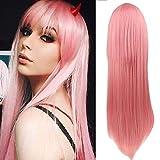 Peluca larga Rosa recta Anime Cosplay peluca con flecos fiesta peluca disfraz de Halloween pelucas para mujeres