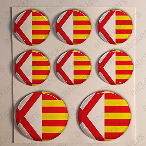 Pegatinas Bandera Hospitalet de Llobregat Redondas 8 x Pegatina Hospitalet de Llobregat Resina Relieve 3D Adhesivo Vinilo