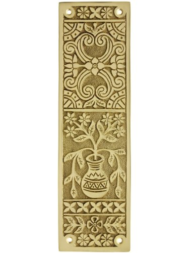 Eastlake Victorian Push Plate in Solid, Cast Brass
