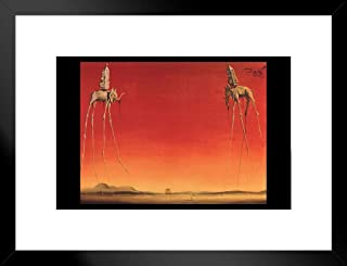 Salvador Dali Les Elephants 1948 Oil On Canvas Spanish Surrealist Painting Art Print Matted Framed Poster 26x20 inch