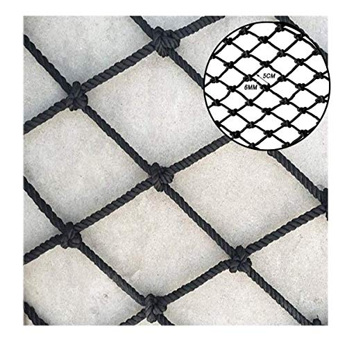 Veiligheidskabelnet, 6 mm in diameter, Zwart, Balkontrap anti-valnetten, Speeltoestellen, Hangbrug leuning net, Winkelcentrum decoratie netwerk (Size : 3 * 5M(10 * 16ft))