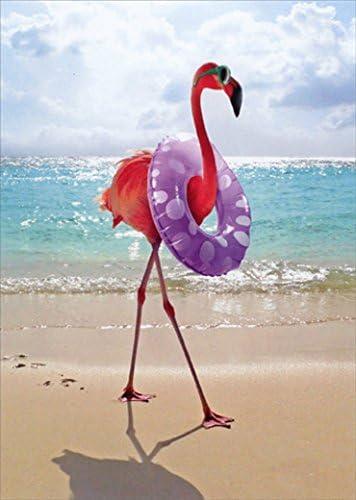 Flamingo with Swim Ring Funny Feminine Birthday Card product image