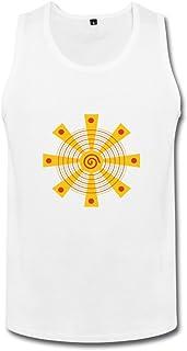 LN 成人 ファッション 赤黄色の円と三角形 太陽 ランニング シャツ 100%棉 White
