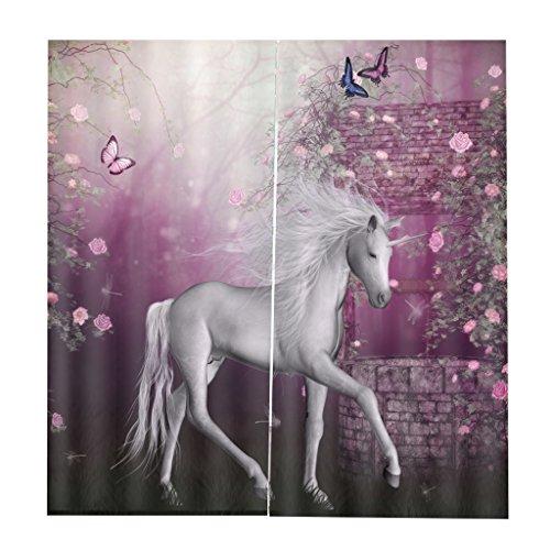 Homyl 2er-Set Tiere Vorhang Schal Verdunkelungsvorhang Blickdicht für Wohnzimmer Schlafzimmer, Auswahl - Einhorn