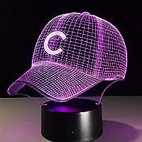 帽子野球帽3D LEDナイトライトクリエイティブホームデコレーション3Dビジョン3Dビジュアル照明7色変更USB充電テーブルランプ誕生日プレゼントエンターテイメント装飾ギフト子供のおもちゃ [並行輸入品]
