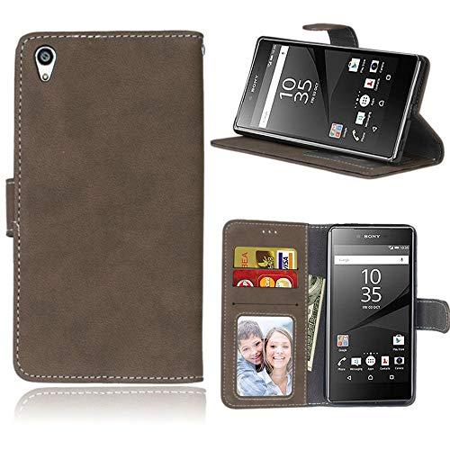 Sangrl Lederhülle Schutzhülle Für Sony Xperia Z5 Premium/Dual / Z5 Plus, PU-Leder Klassisches Design Wallet Handyhülle, Mit Halterungsfunktion Kartenfächer Flip Hülle Braun